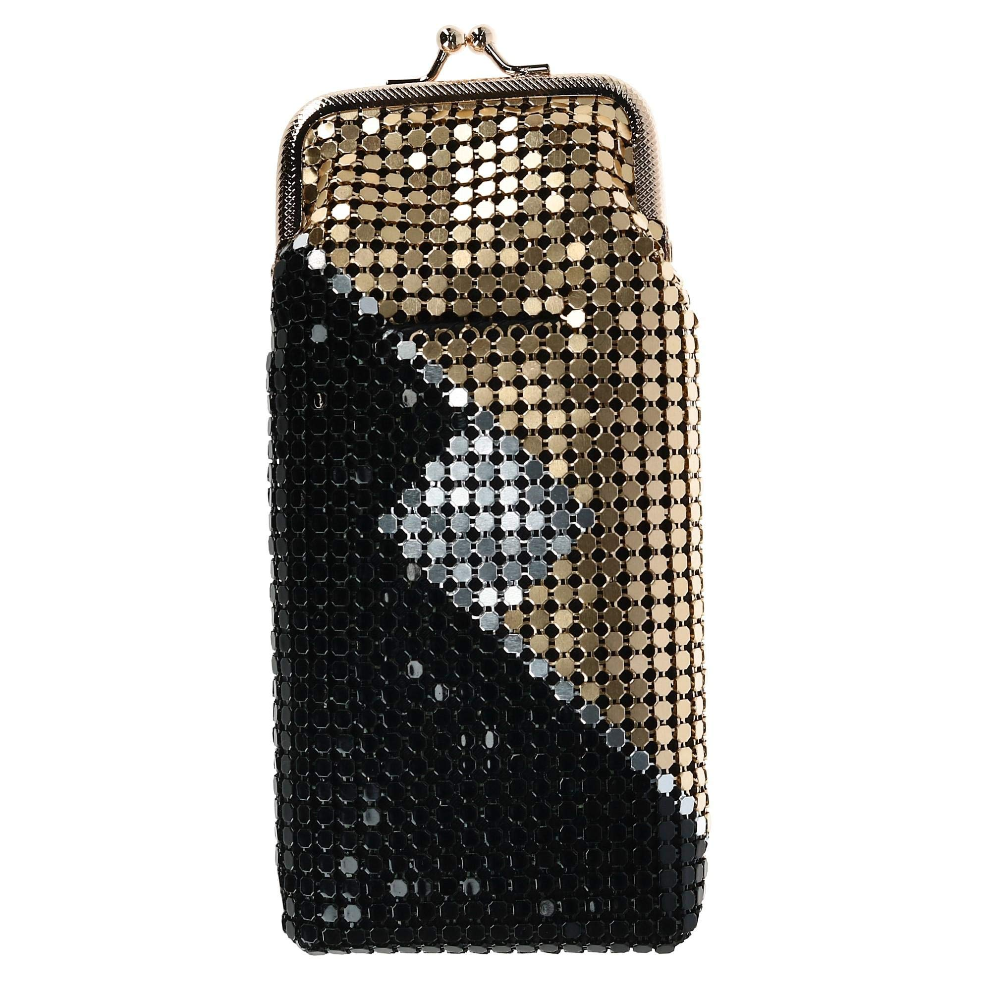 CTM Women's Mesh Pattern Cigarette Case with Lighter Pocket & Kiss Lock Closure, Black