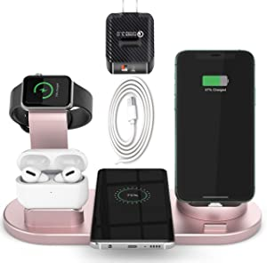 GiGAWOOD Wireless Charger Stand - Gifts for Mom, Mom Gifts on Mothers Day, Teacher Appreciation Gifts, Charging Dock Station for iPhone 12, Airpods Pro, Apple Watch 5(Origin Charger REQ`D), Rose Gold