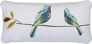 Levtex home Abigail Bird Pillow, 12x24, White, Blue
