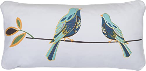 Levtex home Abigail Bird Pillow, 12×24, White, Blue