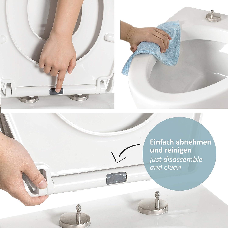 Material termoestable antibacteriano Asiento de inodoro WC con forma de D GRATIS: 2 ganchos de acero inoxidable Tapa de inodoro de cierre suave
