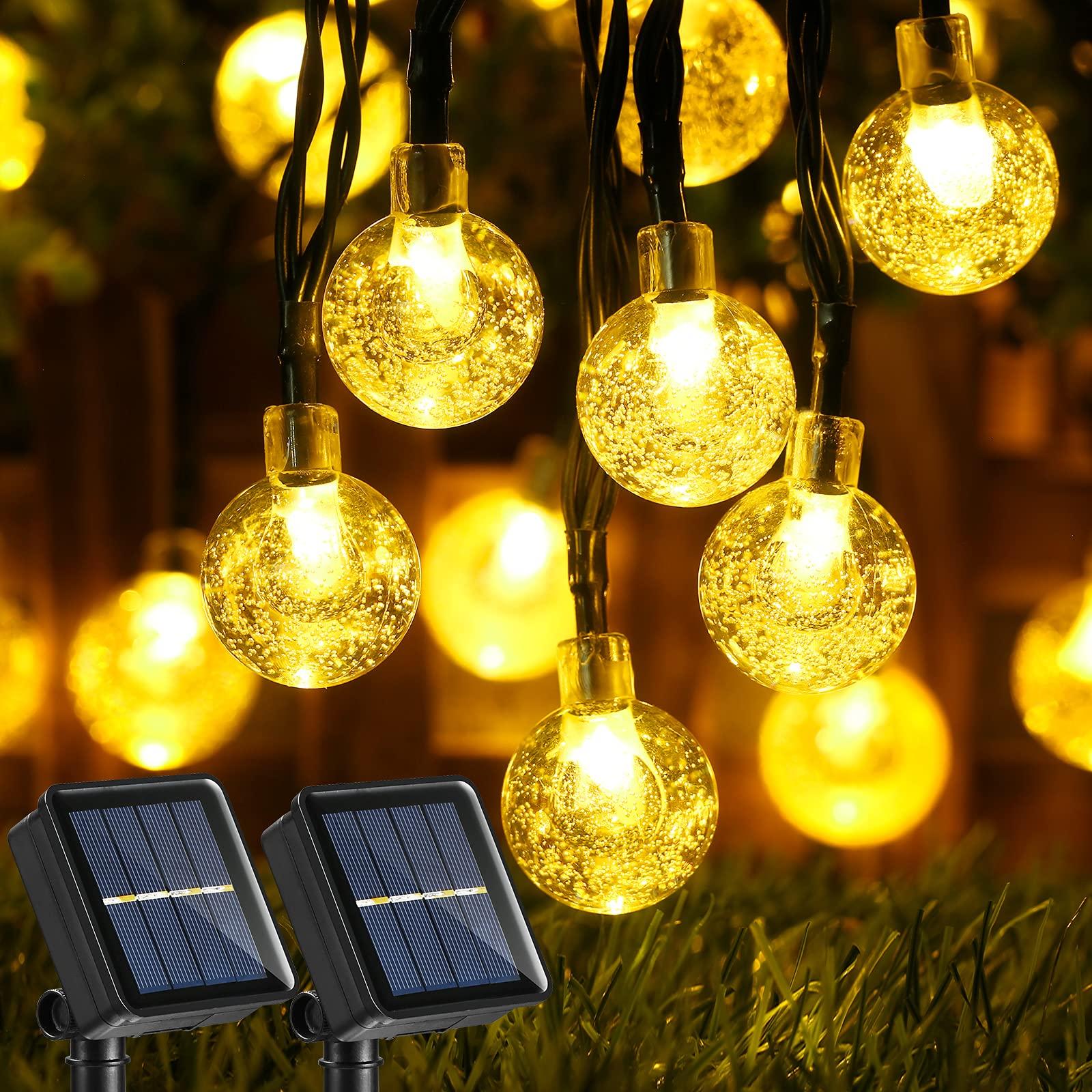 Joomer Solar String Lights OutdoorUpgraded 2 Pack 30 LED 20ft Crystal Globe