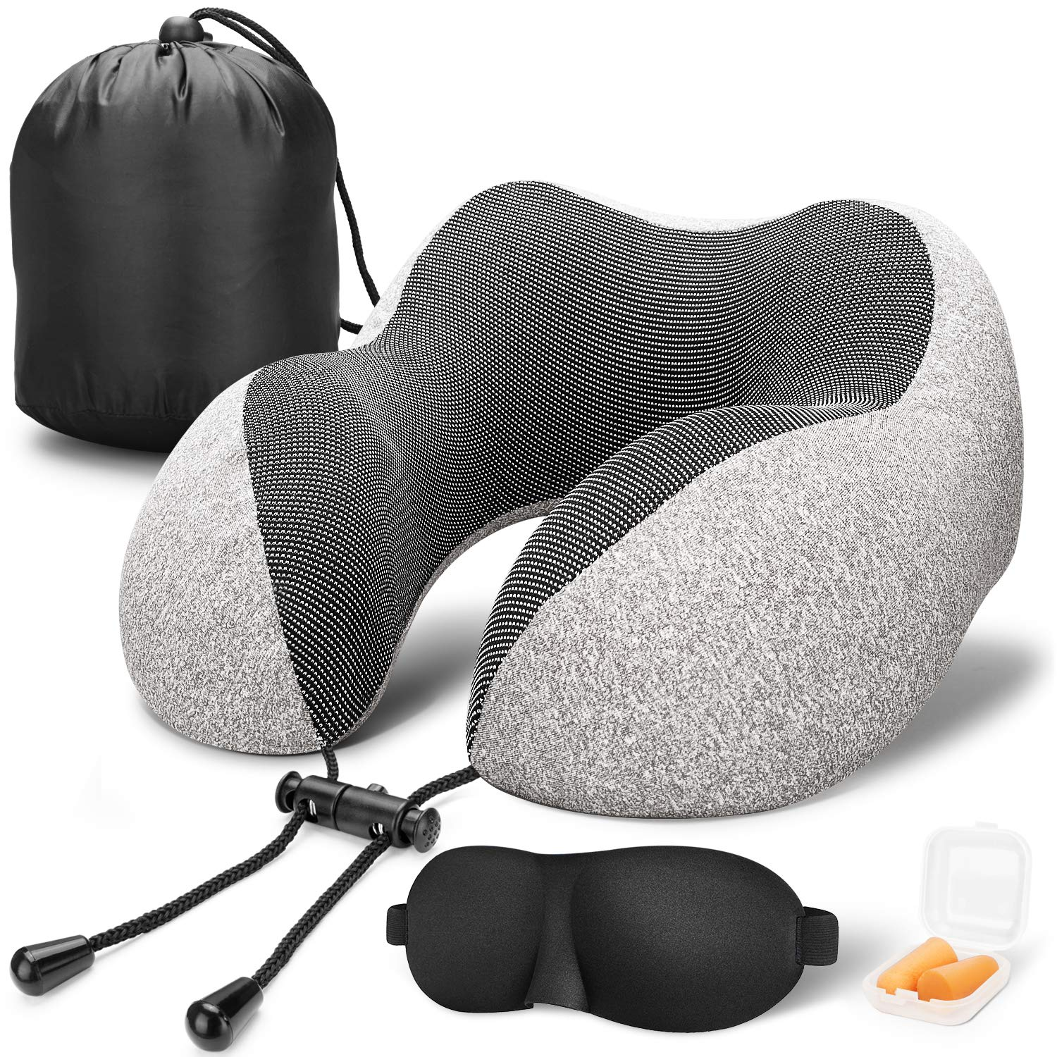 MLVOC Travel Pillow 100% Pure Memory Foam Neck Pillow, Comfortable & Breathable Cover, Machine Washable, Airplane Travel Kit with 3D Contoured Eye Masks, Earplugs, and Luxury Bag, Standard, Gray by MLVOC