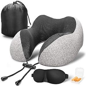 MLVOC Travel Pillow 100% Pure Memory Foam Neck Pillow, Comfortable & Breathable Cover