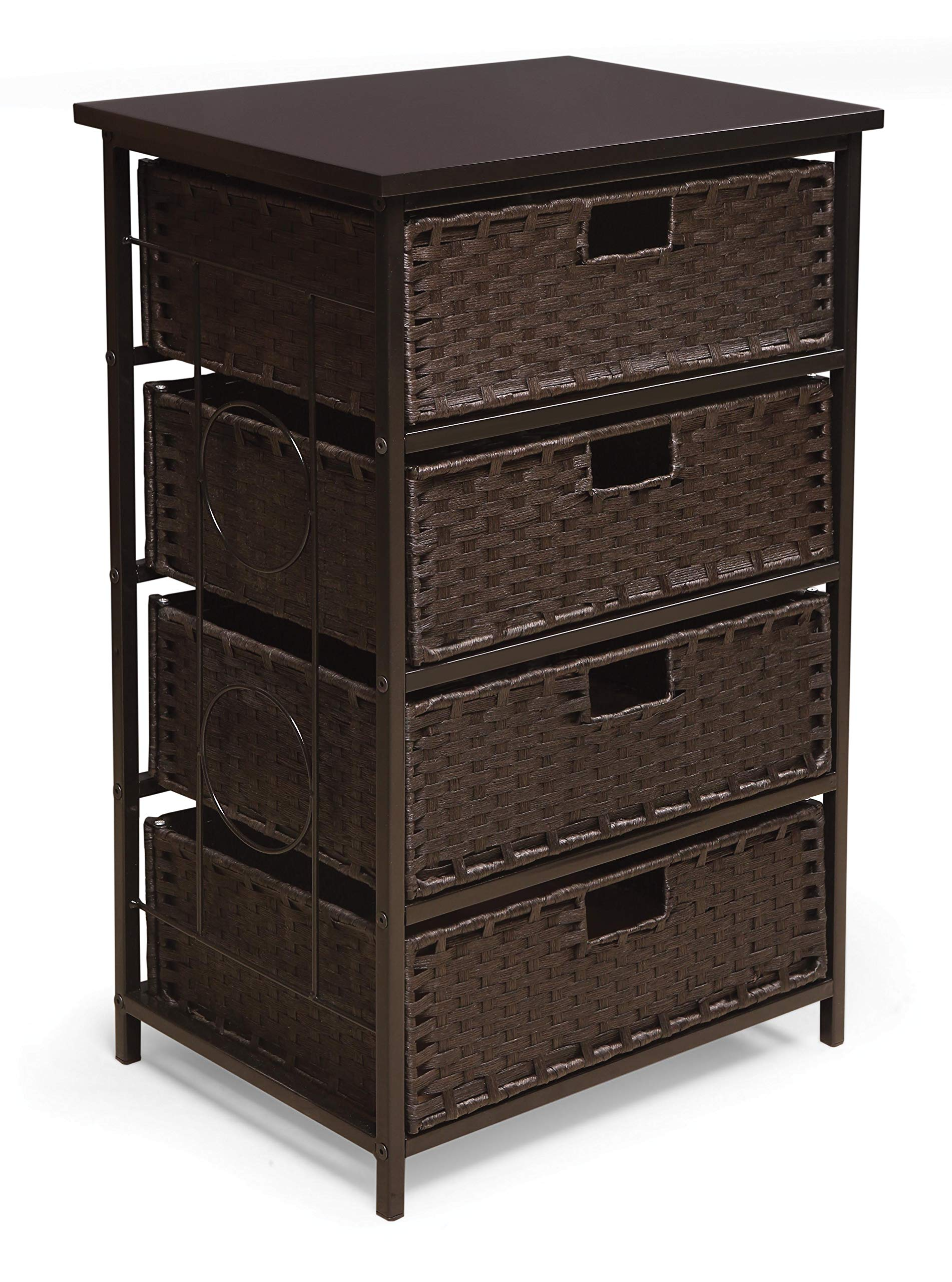 August Collection Tall Four Basket Drawer Storage Unit