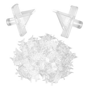 "Pack of 100 – Plastic Shelf Support Pegs, Cabinet Furniture Shelf Pins, Bookcase Shelf Brackets, Fits 6mm 1/4"" Diameter Hole (Clear)"
