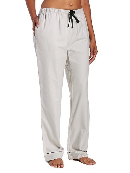 Noble Mount doble barco para mujer 100% algodón franela salón pantalones - Gris -