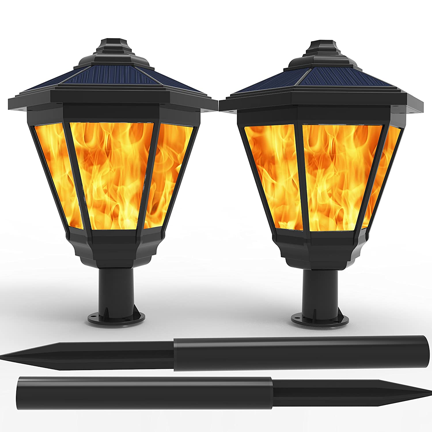 LAMPAT Solar Lights Waterproof Flickering Flames Torches Lights Outdoor Landscape Decoration Lighting Dusk to Dawn Auto On Off Security Torch Light for Garden Patio Deck Yard Driveway 2 Pack