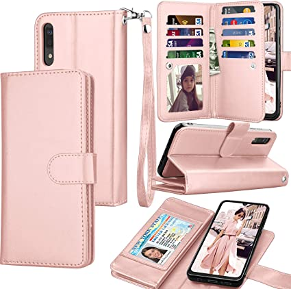 Black Glitter Wallet Case for Samsung Galaxy A50 with Wrist Strap,QFFUN Luxury Bling Magnetic Closure Folio Stand Feature PU Leather Phone Cases Flip Cover Bumper