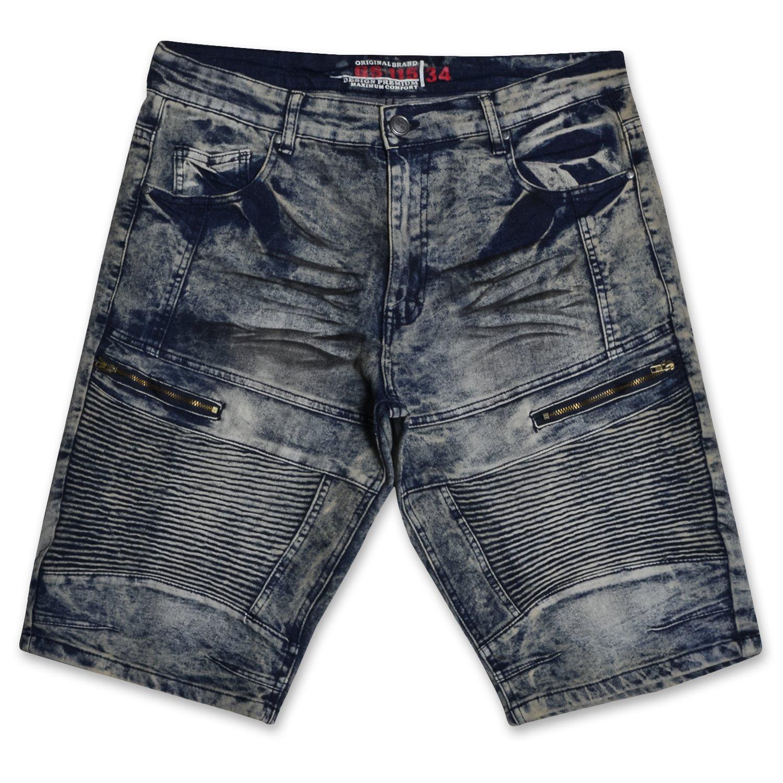 GS-115 Men's Distressed Patterned Stretch Denim Multi Pocket Jean Knee Shorts Blue Tint 38
