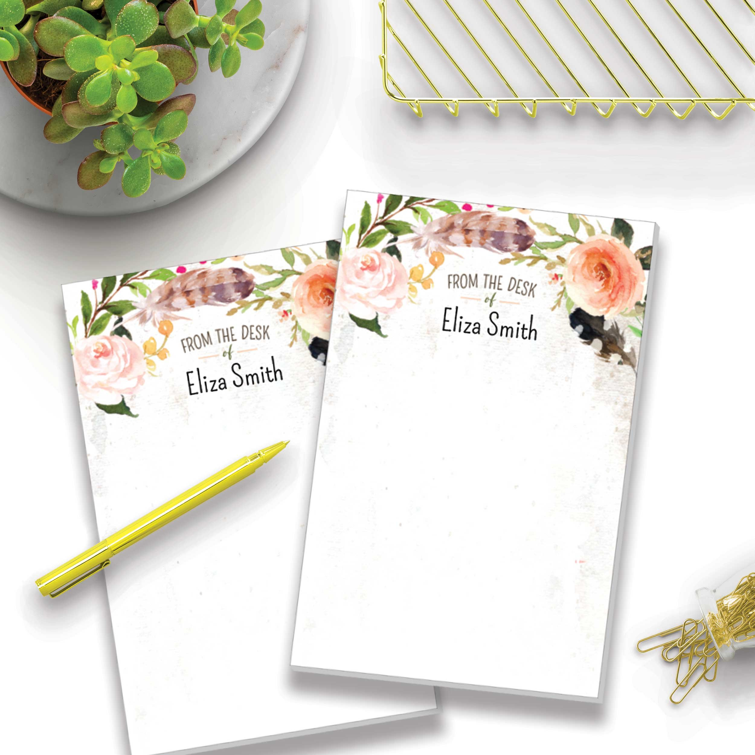 Garden Oasis Set of 2 Personalized Memo Pads/Notepads, 2 pads - 50 sheets per pad. Available in 5.5'' x 8.5'' or 4'' x 5.5''. Made in the USA.
