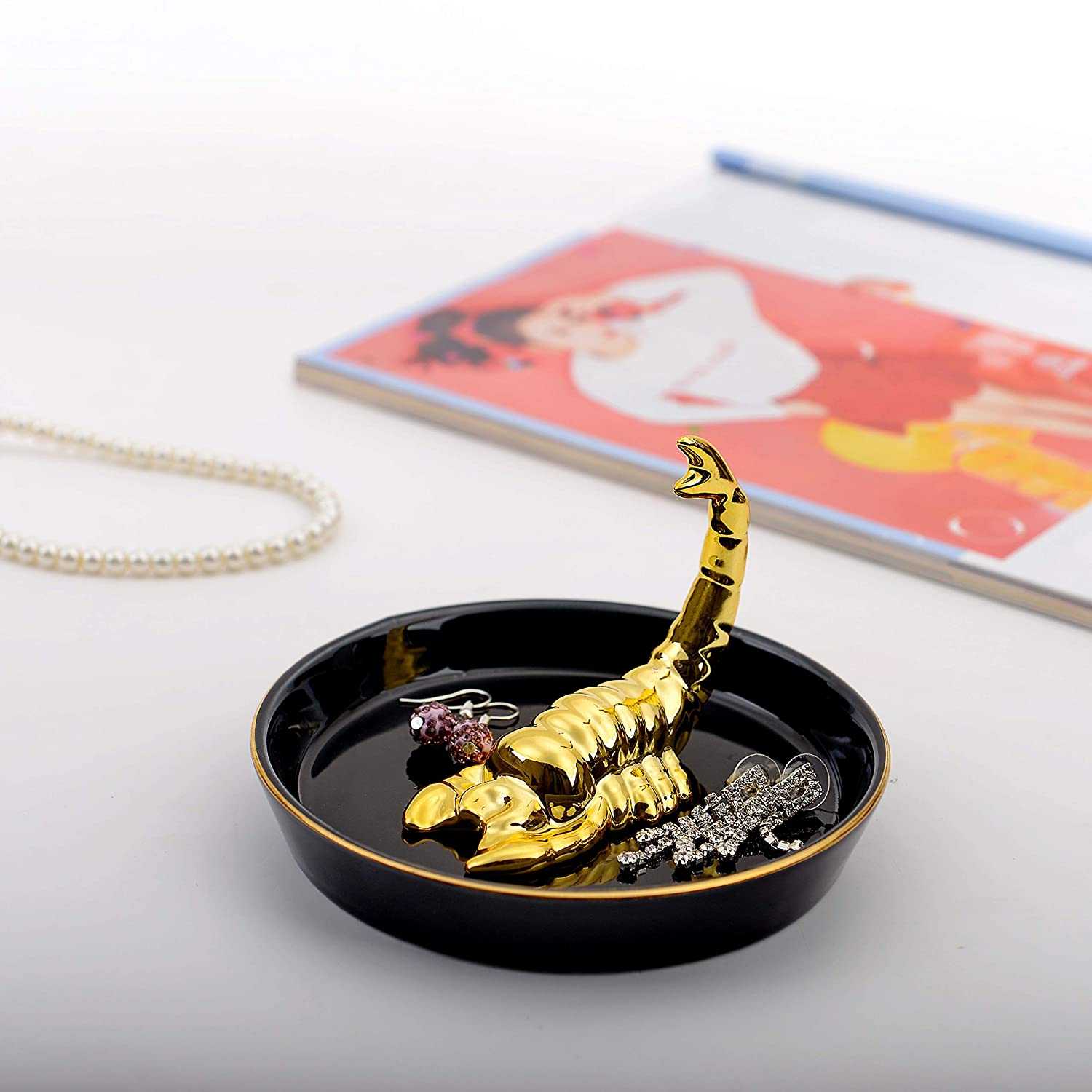 YPDINGDING Constellation Gold Scorpio Jewelry Tray Ring Holder Decor Dish Organizer Ring Display Earrings Necklace Bracelet