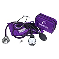 Dixie Ems Blood Pressure and Dual Head Stethoscope Kit (Purple)