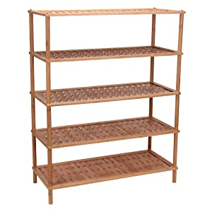 Household Essentials 5-Tier Bamboo Shoe Rack, Basket Weave