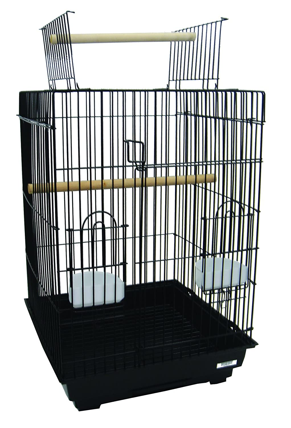 YML A5984 3/4-Inch Bar Spacing Open Top Small Parrot Cage with Stand, 18-Inch by 18-Inch, Black A5984BLK