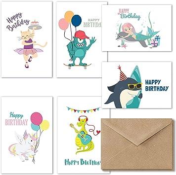 Wondrous Amazon Com Kids Happy Birthday Cards Assortment 36 Fun Birthday Personalised Birthday Cards Paralily Jamesorg