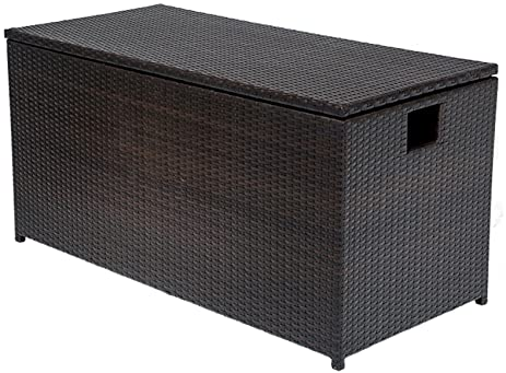 TK Classics Outdoor Wicker Patio Storage Chest, Espresso