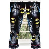 "DC Comics Window Curtain Panels with Tie Backs, NU0348, Microfiber, Black, 82"" x 63"""