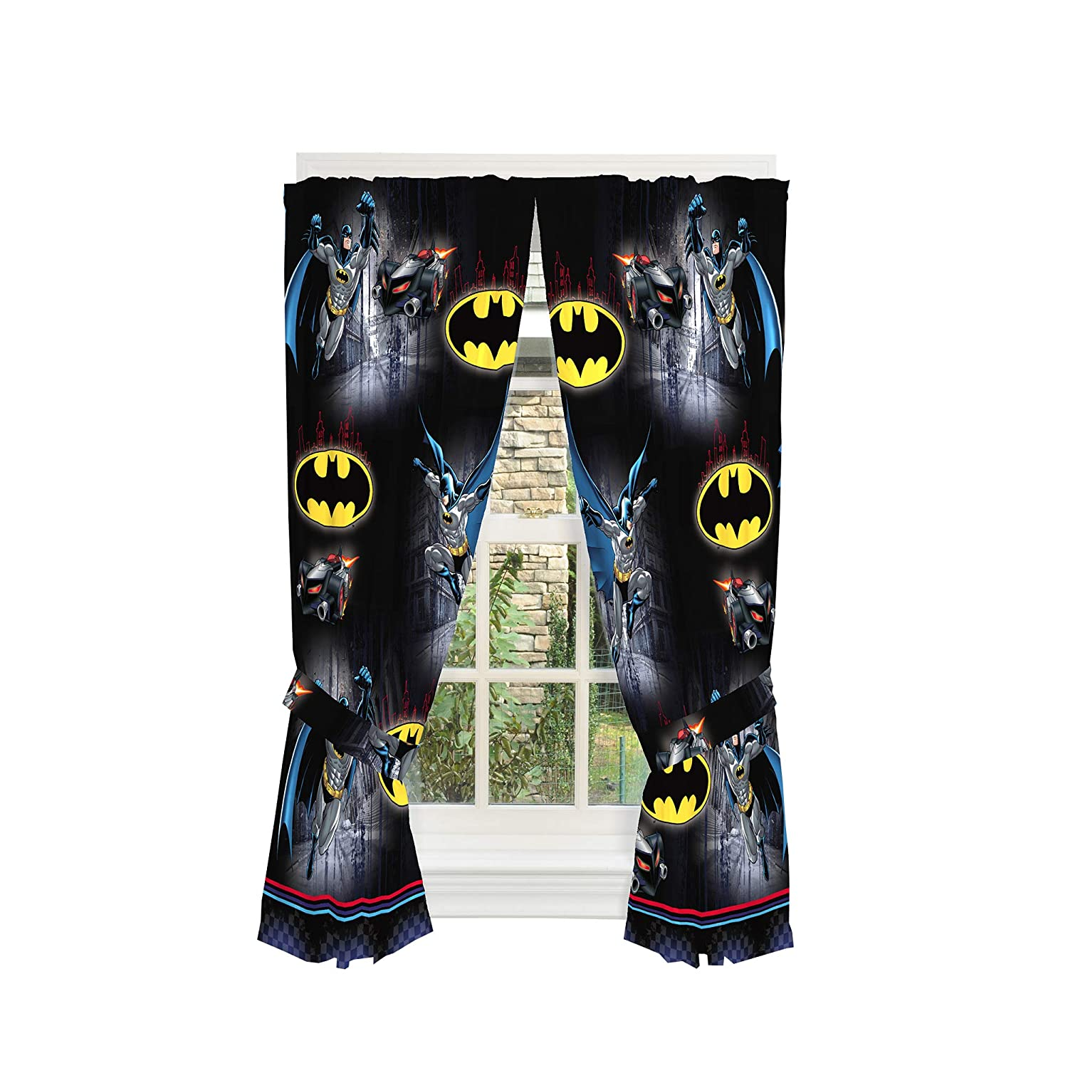 "Warner Bros Batman Kids Room Window Curtain Panels with Tie Backs, 82"" x 63"", Black"