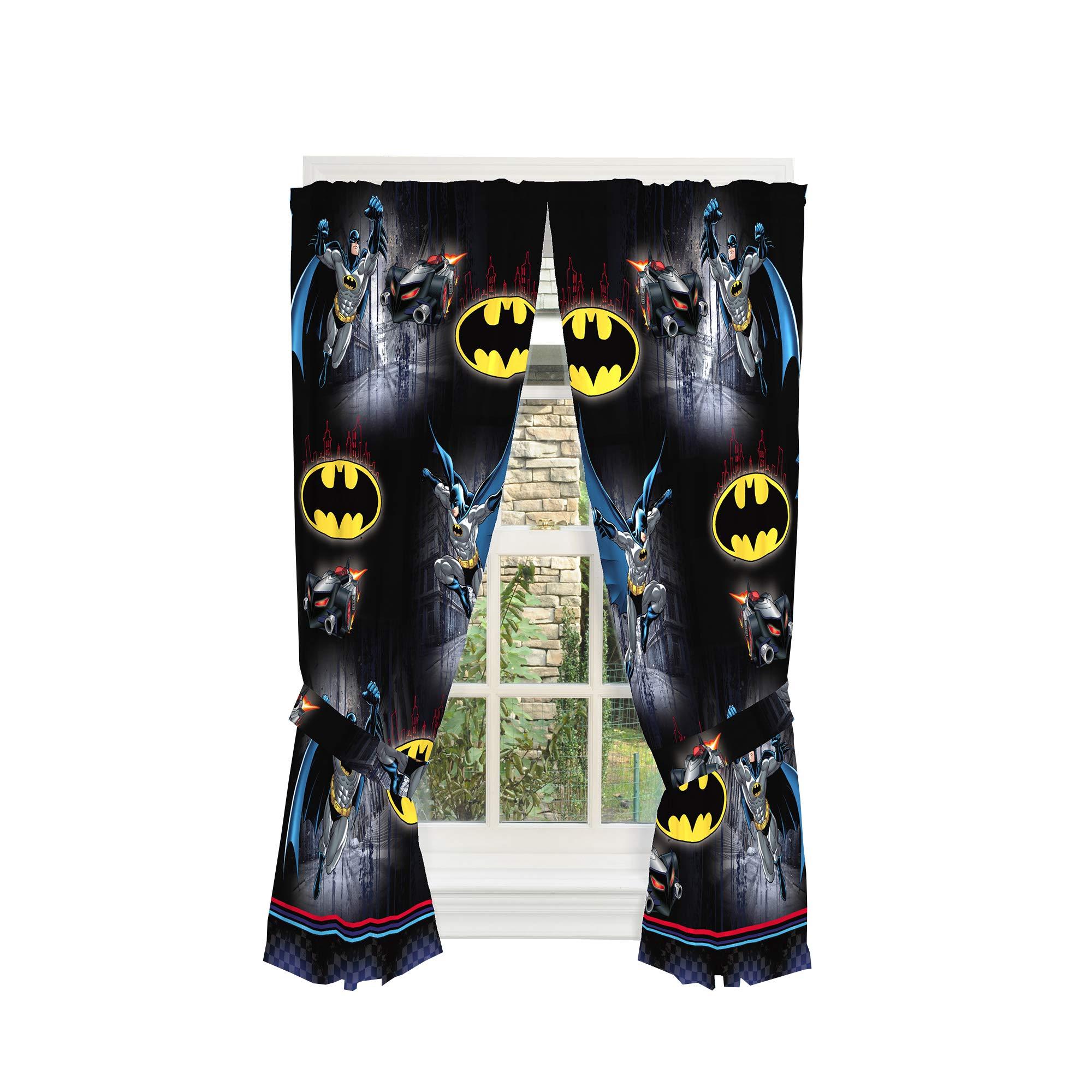 Franco Kids Room Window Curtain Panels with Tie Backs, 82'' x 63'', Batman by Franco