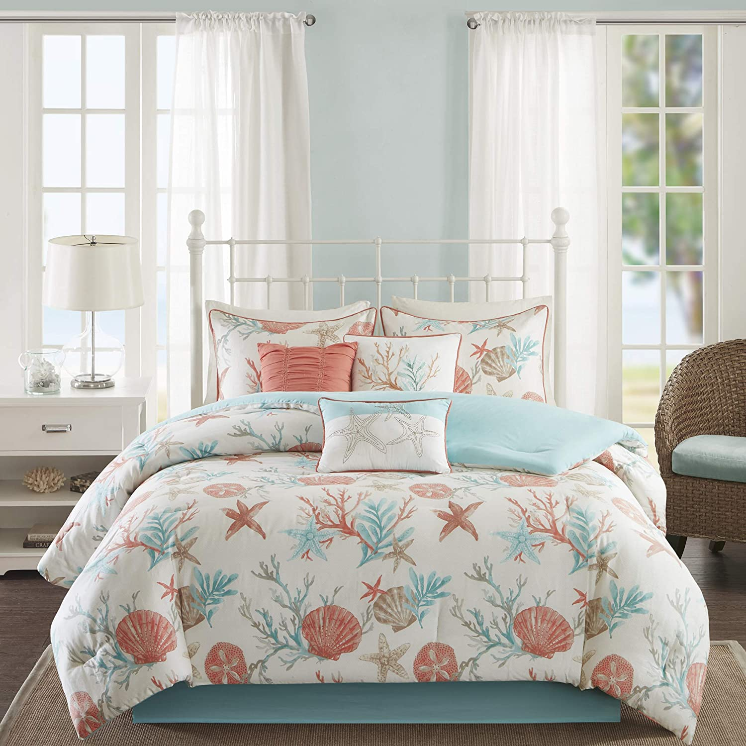 "Madison Park Cotton Comforter Set-Coastal Coral, Starfish Design All Season Down Alternative Cozy Bedding with Matching Shams, Decorative Pillow, Queen(90""x90""), Pebble Beach Teal, 7 Piece"