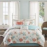 "Madison Park Pebble Beach Comforter Set, Queen(90""x90""), Coral/Teal"