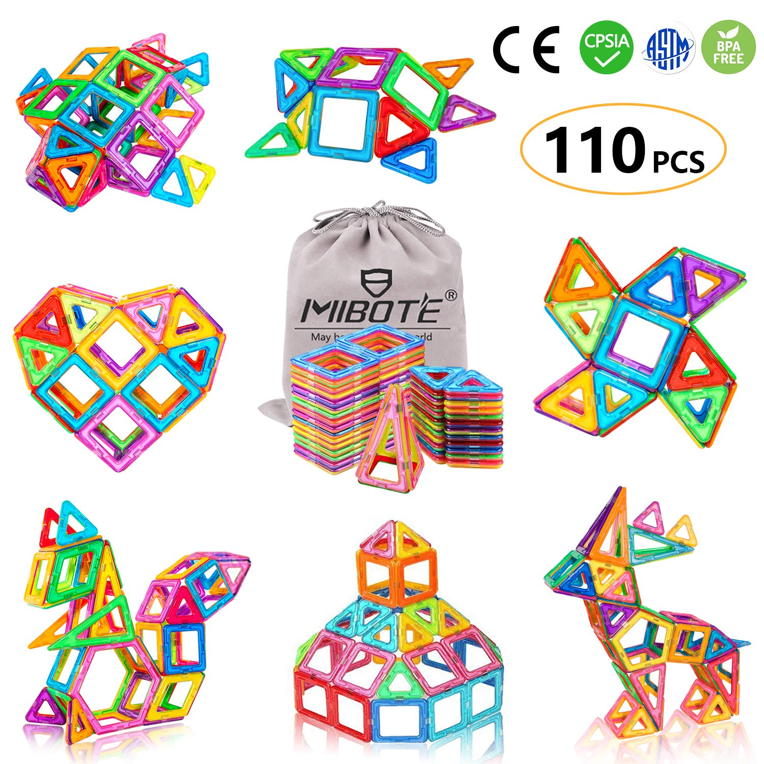 MIBOTE 110 PCS Magnetic Building Blocks Educational STEM Toys Imagination Magnet Tiles Toddler Building Blocks Set for Kids - All of Them are Strong Magnets by MIBOTE