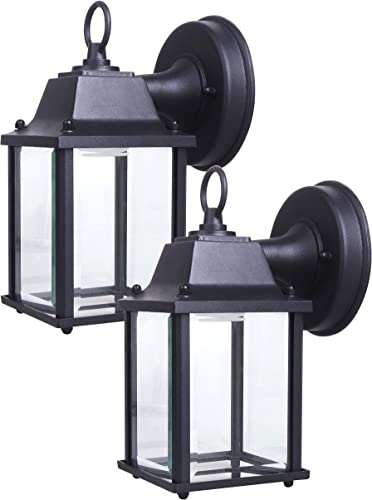 LIT-PaTH Outdoor LED Wall Lantern, Wall Sconce as Porch Lighting Fixture, 5000K Daylight White, 9.5W 75W Equivalent , 800 Lumen, Aluminum Housing Plus Glass, Outdoor Rated, 2-Pack