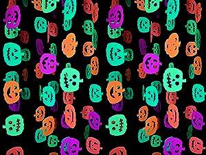 Midnight Glo Halloween Party Supply 78ft Neon Pumpkin Garland Hanging Decorations for Halloween Decorations Black Light Reactive UV Glow Party (6 Pack)