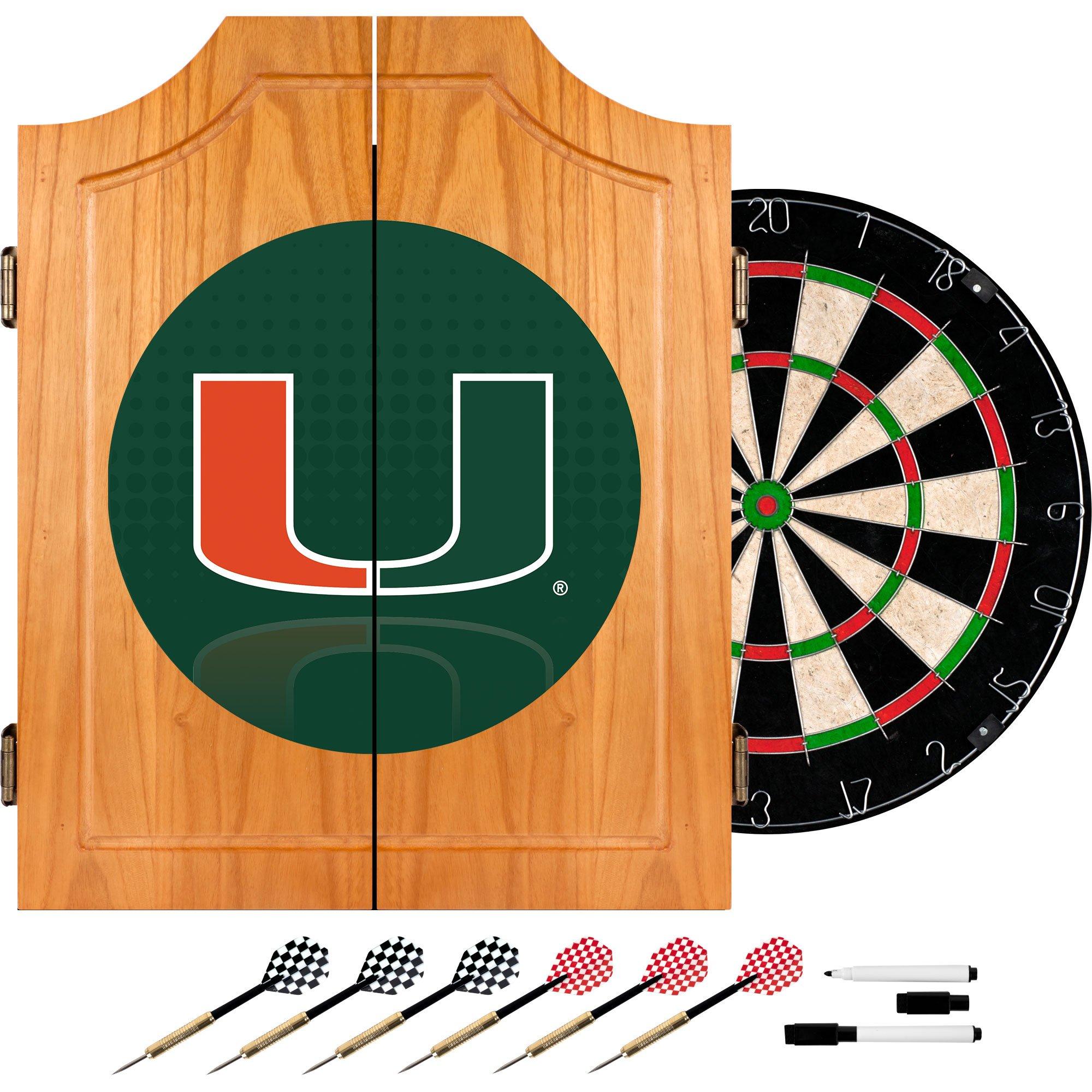 Trademark Gameroom University of Miami Wood Dart Cabinet Set - Reflection by Trademark Gameroom
