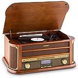 auna Belle Epoque 1908 Equipo estéreo • Tocadiscos retro • Bluetooth • Reproductor de CD • Cassette • Sintonizador DAB • Radio AM/FM • Puerto USB • Mando distancia • Carcasa madera