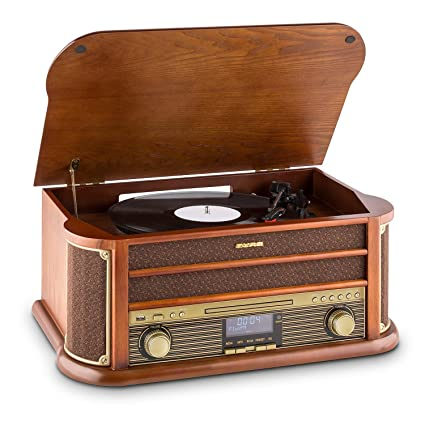 auna Belle Epoque 1908 Equipo estéreo - Tocadiscos Retro , Bluetooth , Reproductor de CD , Cassette , Sintonizador Dab , Radio Am/FM , Puerto USB , ...