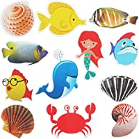 Hotop 12 Pieces Non Slip Bathtub Stickers, Sea Creature Shower Treads,  Adhesive Bath