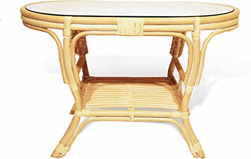 Pelangi Coffee Oval Table w Glass Top Natural Rattan Wicker Handmade, Cream Color