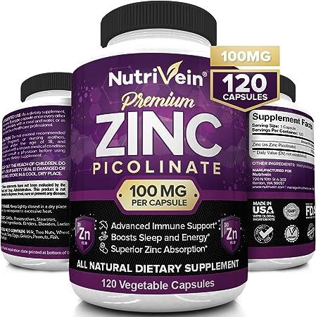 Nutrivein Premium Zinc Picolinate 100mg - 120 Capsules - Immunity Defense Boosts Immune System & Cellular Regeneration - Maximum Strength Bioavailable Supplement - Essential Elements for Absorption