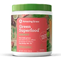 Amazing Grass Energy Green Superfood Organic Powder with Wheat Grass and Greens, Natural Caffeine with Yerba Mate and Matcha Green Tea, Flavor: Watermelon, 30 Servings