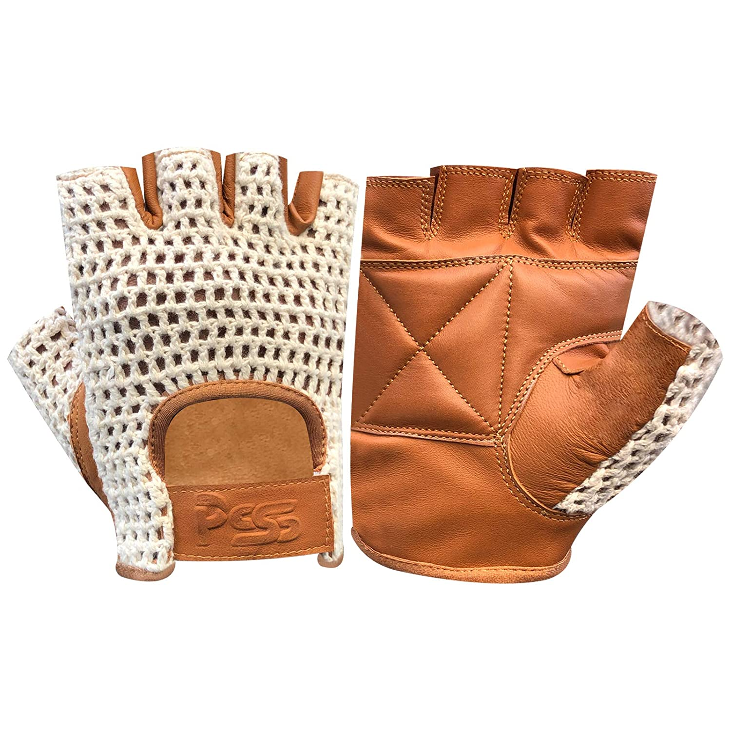 Large New Brown Genuine Leather Motorcycle Driving Cycling Weight Lifting Fingerless Gloves