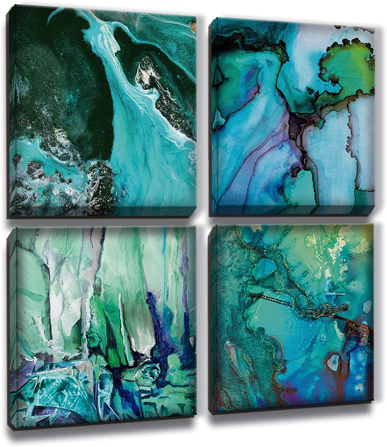 MARG Wall Decorations for Living Room, Abstract Blue and Green Canvas Wall Art, 4 Panels 12x12 inch/Piece, Home Decor