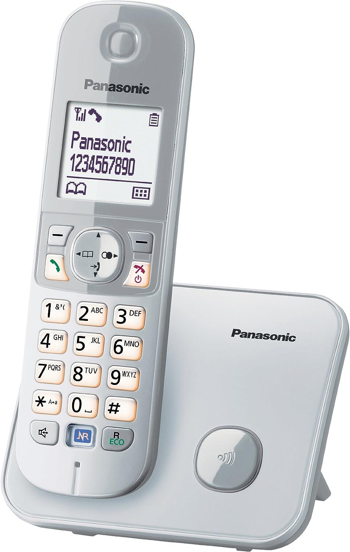 Panasonic KX-TG6811 - Teléfono fijo digital (inalámbrico, pantalla LCD, identificador de llamadas, 120 entradas), plateado (importado) [versión importada]