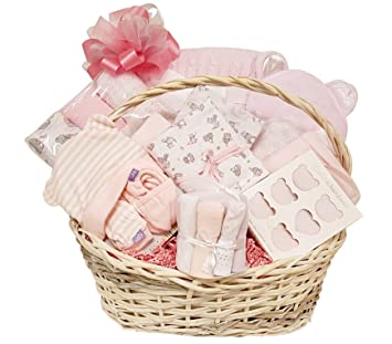 Amazon.com : Newborn Baby Girl Gift Basket with Essentials, Swaddling Set, Receiving Blanket Set, Socks, Hooded Towel, Hat, Mitts and Booties : Baby