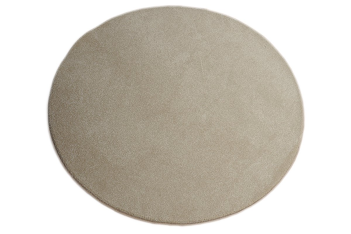 Luxus Hochflor Teppich Prestige rund - Farbauswahl  Weiß, Beige, Braun, Silber   schadstoffgeprüft pflegeleicht strapazierfähig  für Wohnzimmer Schlafzimmer Büro, Farbe Beige, Größe 133 cm rund