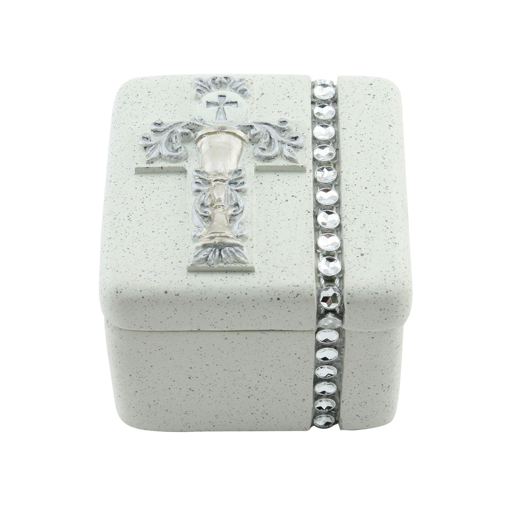Roman First Holy Communion Silver Chalice 2 x 2 Inch Resin Stone Keepsake Rosary Jewelry Box