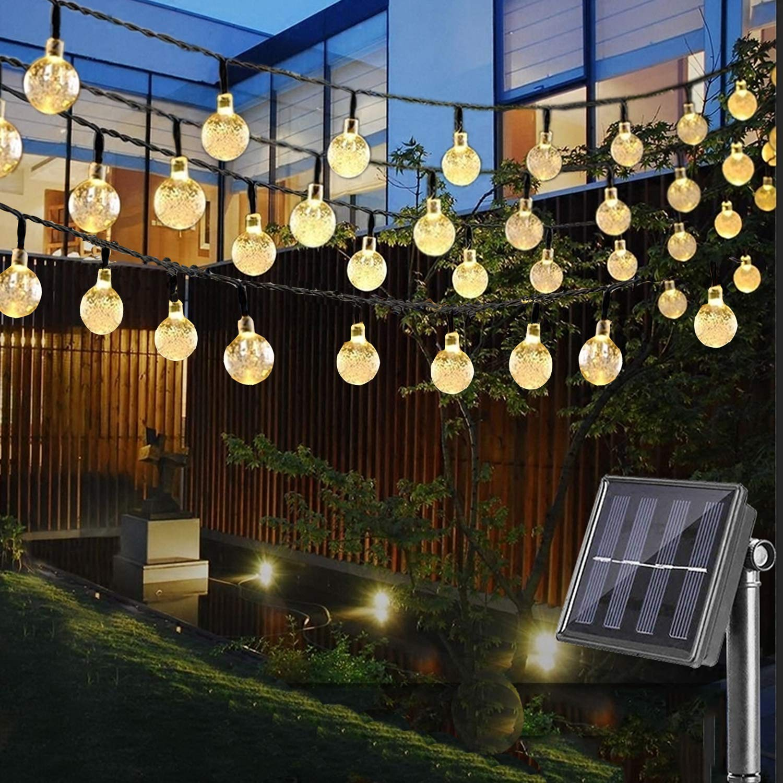 LED Solar Lichterkette mit LED Kugel 6.5 M 30 LEDs 8 Modi IP65 Wasserdicht Warmweiß Lichterkette mit Lichtsensor, Kristallbälle Weihnachtsdeko Dekorative Beleuchtung für Garten, Terrasse, Hof, Haus, Party [Energieklasse A+++] Nasharia