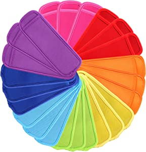 24 Pack Reusable Popsicle Bags Ice Pop Sleeves Antifreezing Sleeves,8 Colors