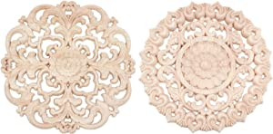 PH PandaHall 2pcs Wooden Carved Onlay Applique Decal Unpainted Furniture Bed Door Cabinet Decor Wood Cabochons for Furniture Wall Door Box Desk Decoration (Diameter 5.9 Inch)