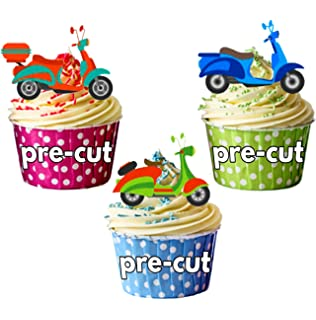 Vespa Scooter Italian Birthday  Mix Edible Cake Toppers Decorations Chic Fun