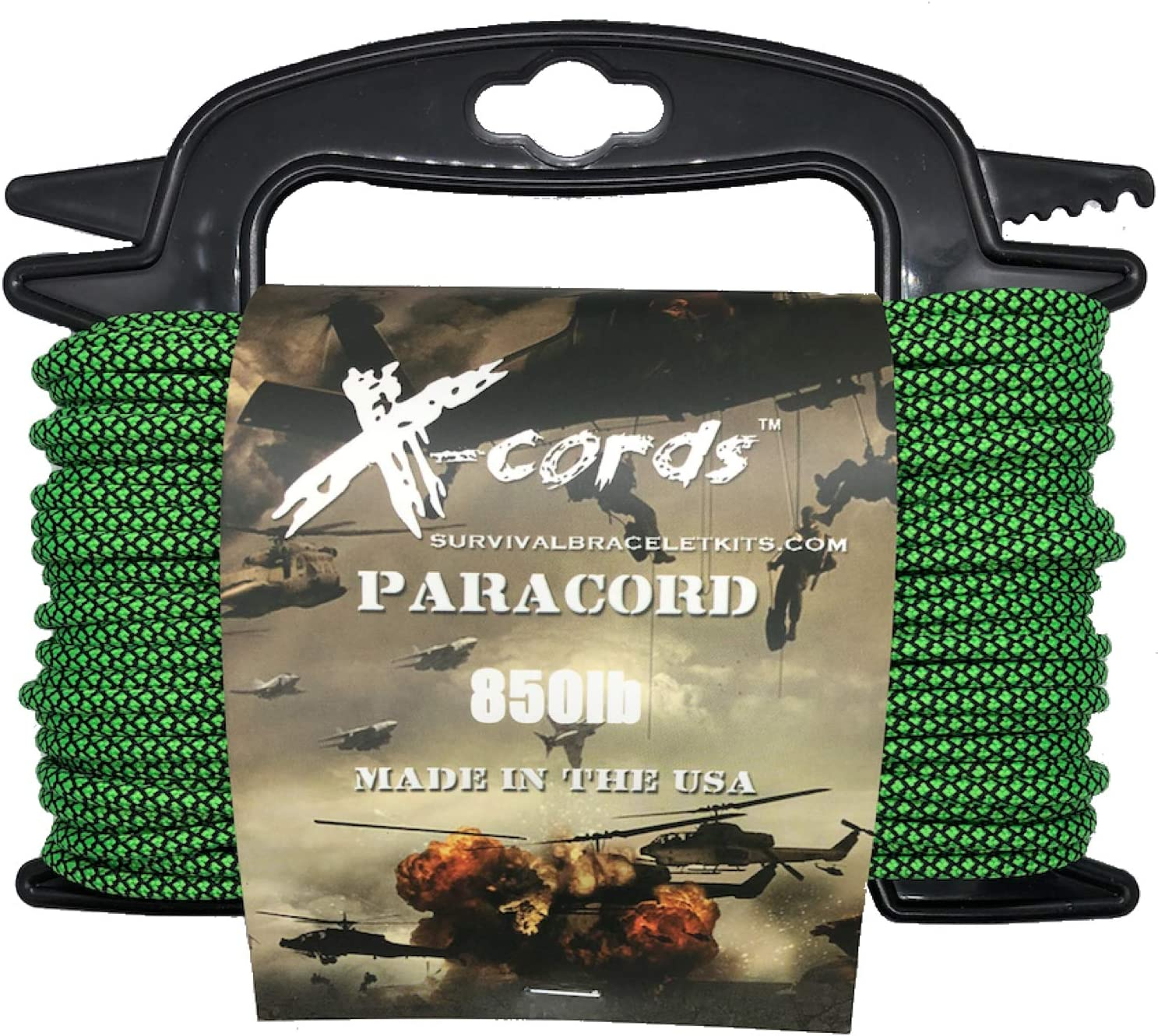 X-CORDS Paracord 850 Lb Stronger Than 550 and 750 Made by Us Government Certified Contractor (100' Zombie Green ON Spool 850 LB)