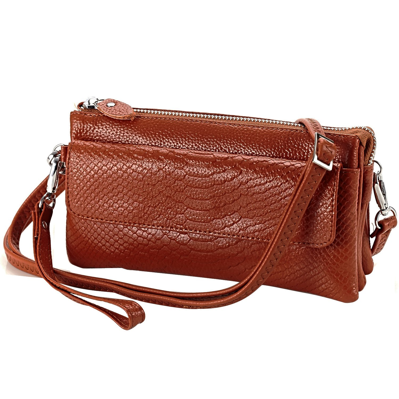 Shalwinn suave cuero genuino Crossbody bolsa de hombro, bolsa de teléfono celular bolsa, embrague de la cartera de pulsera con correa de hombro larga y correa de muñeca