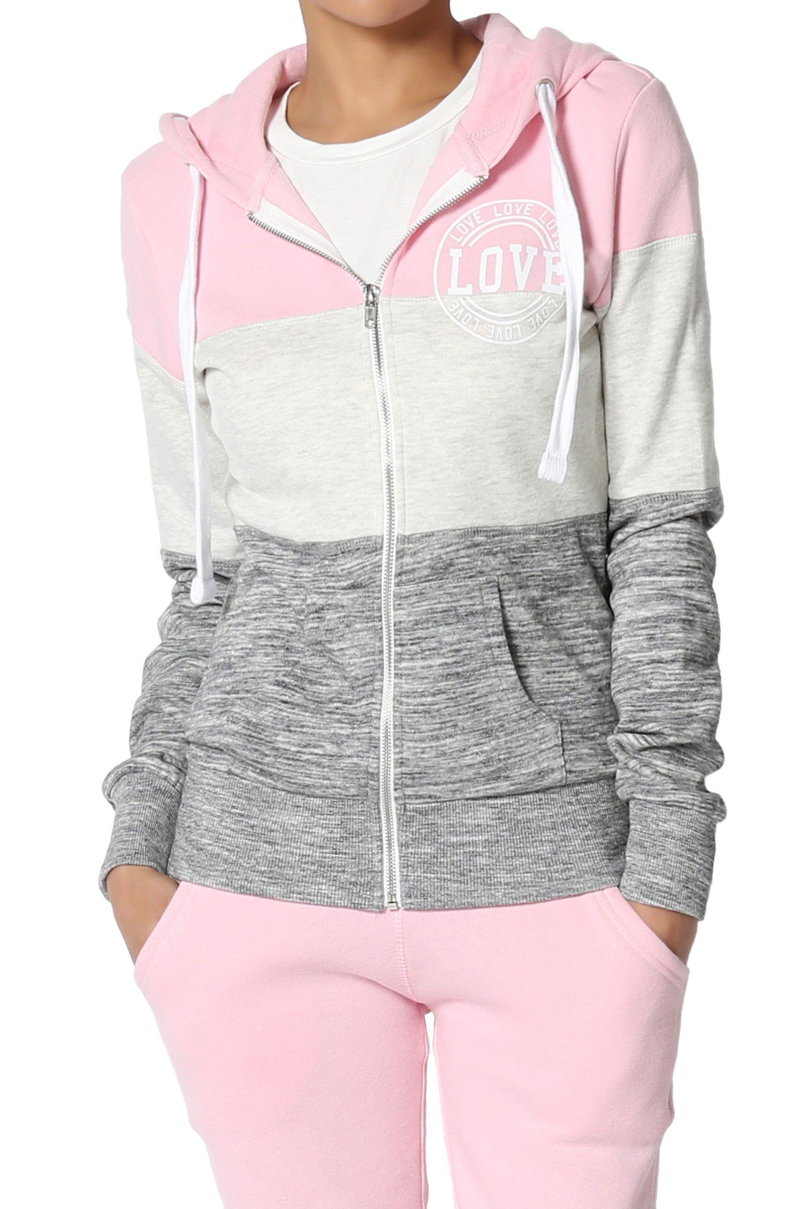 TheMogan Junior's Love Colorblocked Varsity Full Zip-Up Hoodie Jacket Candy Pink M