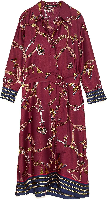 Zara Mujer Vestido Camisa con Estampado Cadenas 8127/147 S: Amazon.es: Ropa y accesorios